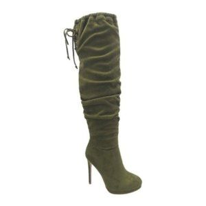 Wild Diva Olive Faux Suede Loren Thigh High Boots